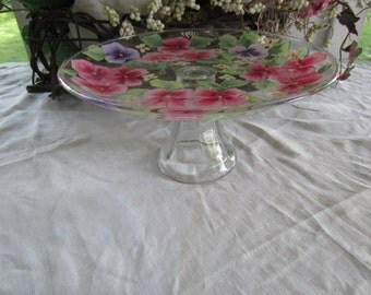 Flower Handpainted glass pedestal cake stand