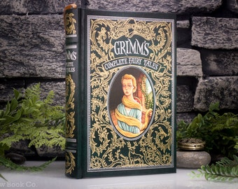Hollow Book Safe - Grimm Complete Fairy Tales (LEATHER-BOUND) – Classic Book – Hollowed Out Book – Magnetic Snap Closure