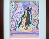 "Original Abstract pen and ink drawing, framed art, colorful modern art  ""Lady In Swirls"" frame included."