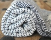 Chevron Pattern Turkish Towel Peshtemal towel in ivory dark grey color Cotton Woven pure soft