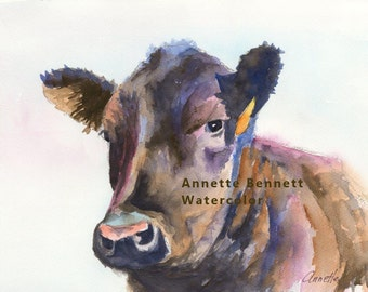 Black Angus watercolor painting canvas print cattle art print wall art western art animal watercolor, animal print, art print, cattle poster