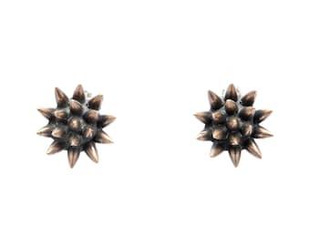 spike earrings // oxidized bronze