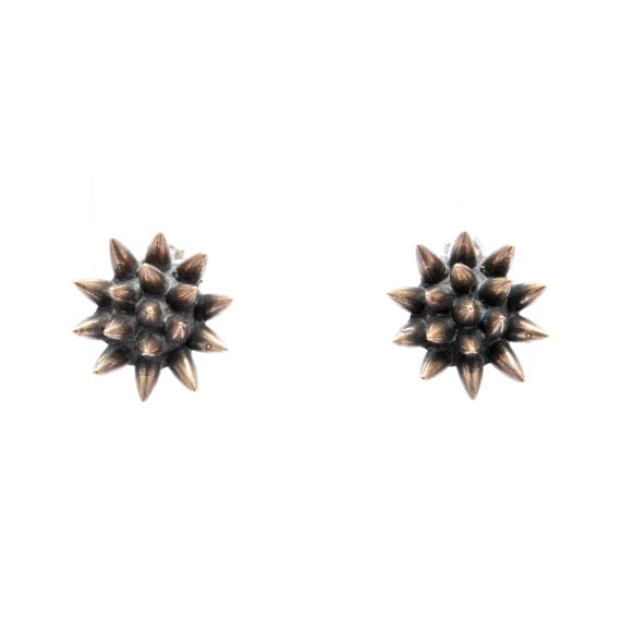 spike earrings // oxidized bronze