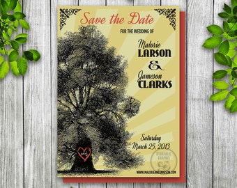 Oak Tree Wedding Save the Date, Retro Printable Invitation, Invitation with Tree, Vintage Tree Save the Date, Initials Heart Invitation