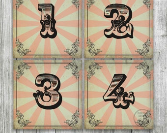 Wedding Table Numbers for VINTAGE CIRCUS Theme