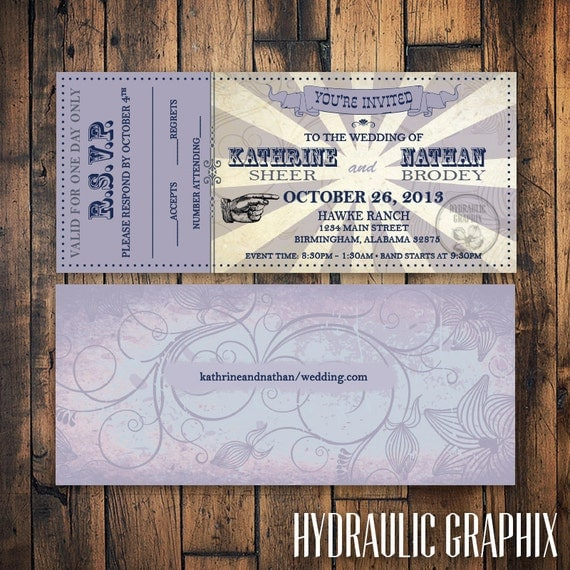 Printable Wedding Ticket Invitation and RSVP, VIP Music Concert ...