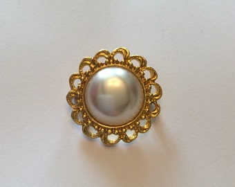 Victorian Revival, Baroque Pearl Brooch, 1980s Vintage Jewelry, SUMMER SALE
