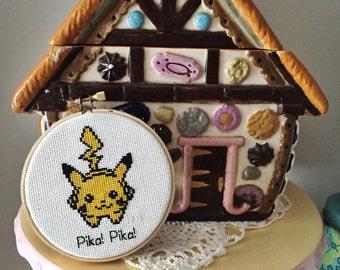 "Pikachu ""Pika! Pika!"" Pokemon Cross Stitch"