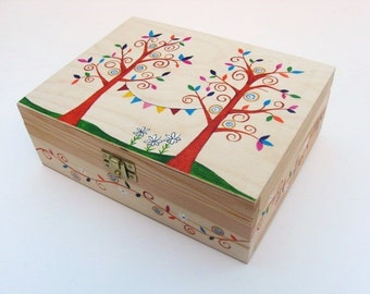 Hand painted jewellery box, Wooden sewing box, Trinket box, Keepsake box, Jewellery box with 6 internal compartments
