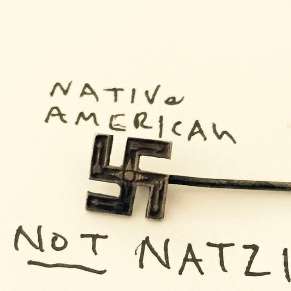 Whirling Log Hat Pin Sterling Swastika Native American Navajo
