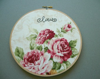 Elegant Roses Floral Fabric Embroidered Hoop, Gifts for Mom, Pink , Red, Green, Hand Embroidery - Shabby Chic Home Decor - 7 inch