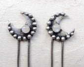 Moondance - crescent moon hair stick with rainbow moonstone