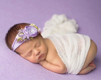 Lavender, Purple and Moss Green - Vintage Inspired Flower Stretch Headband - Perfect Newborn Photo Prop