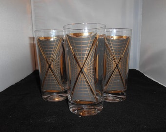 Vintage Black and Gold Beverage Glasses with Grid Pattern