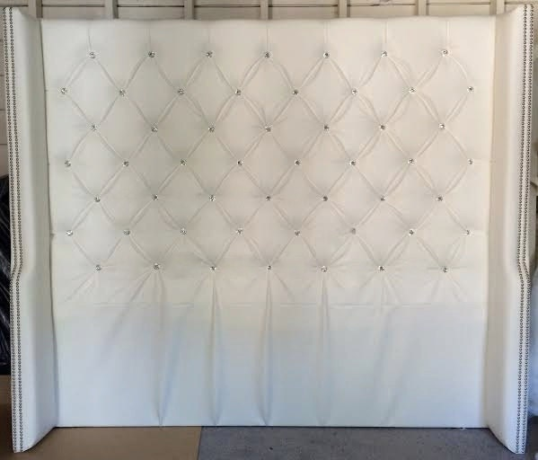 Diamond Tufted Faux Leather Wingback Headboard With Crystal