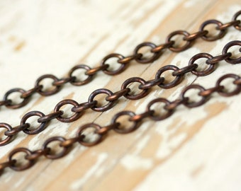6ft Antiqued Brass 5mm x 6mm Cable Chain, Oxidized Solid Brass, Unsoldered Round-ish Link Round wire