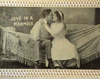 Antique Postcard, Love in a Hammock ca. 1910, Beautiful Embossed Edge