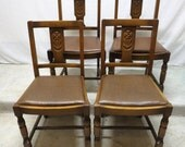 Antique Set 4 Art Deco Carved Golden Oak Dining Room Kitchen Pub Chairs Dinette
