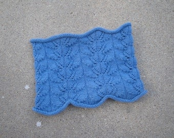 Organic Merino Cowl Scarf, Knitted, Leaf Lace, Gorgeous Blue, Luxury Natural Fiber, Office Scarf
