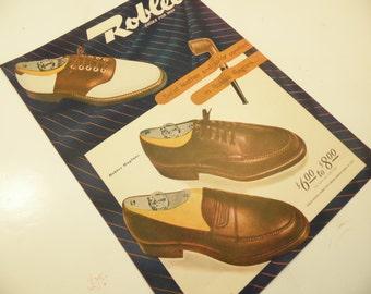 1940s Men's Shoes Advertisement Roblee 10 x 14 Man Cave Decor