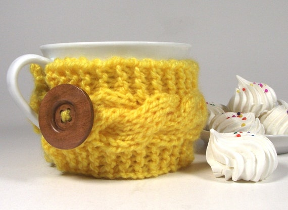 Knitting Pattern For Mug Holder : KNITTING PATTERN Cozy Coffee - Lazy Morning Cup Knit Mug ...