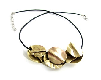 Layered Rustic Brass Bib Necklace - Chunky Brass Statement Necklace - Gold Black Leather Necklace - Faux Gold Brass Necklace Pendant