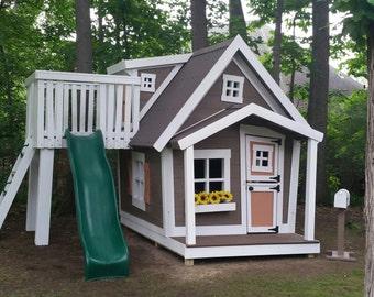Big Playhouse with Dormer, Slide Platform, Shutters, Flower Box, Gable Swing, Loft, Interior Paint, and Mailbox