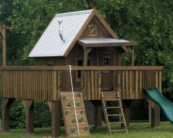 The Big Rustic Cabin Treehouse - 14' x 14' Platform with Ladder and Rock Climbing Wall, Exterior Stain, Fake Dormer, Smoke Stack Chimney...