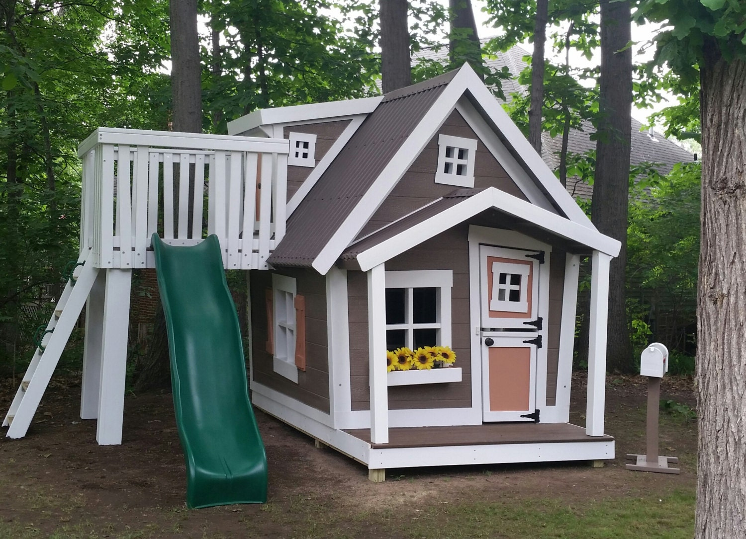 Big playhouse with dormer slide platform by for Whimsical playhouses