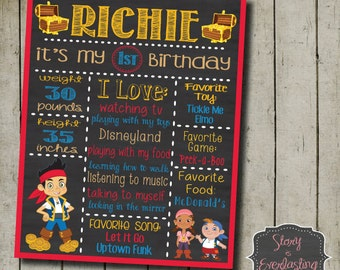 Jake and the Never Land Pirates - Birthday Board - Birthday Facts - Digital File