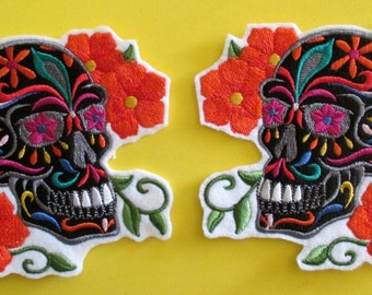 A Pair of Embroidered Sugar Skull Iron on Patches, Applique, Patch, Day of the Dead, Gothic, Biker Patch, Skull, Sugar Skull, Skeleton