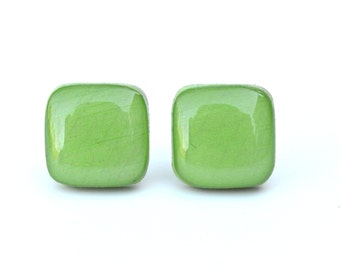 Green Square Stud Earrings, Green Square Studs, green studs, square post earrings, wood earrings, eco friendly jewelry