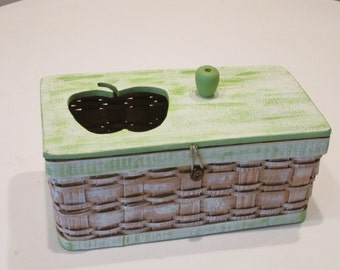 Apple Green Wood and Basketweave Sewing Box