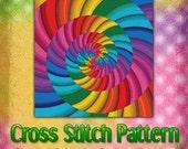 SALE Save 40% Rainbow Vortex Cross Stitch Pattern Instant Download pdf Design