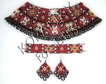 Traditional Ukrainian Beaded Jewelry NECKLACE, BRACELET, EARRINGS.