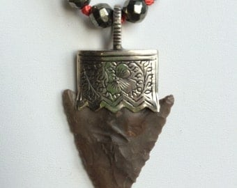 Hand knotted arrowhead necklace