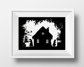 Hansel and Gretel Illustrated Fairytale, Brothers Grimm Illustration, Giclee Archival Art Print with Mount- silhouette fairy tales, fine art