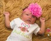 Just Born newborn Bodysuit , new baby shirt , coming home outfit , photo prop , baby shower gift, Owl baby shower