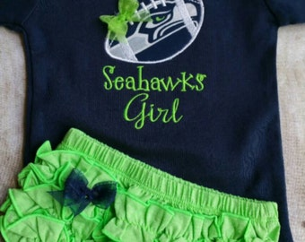 Seattle Seahawks Inspired  Girl Shirt and diaper cover