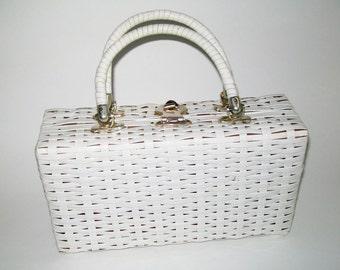 Vintage White Handbag Vinyl Double Handles 1960's