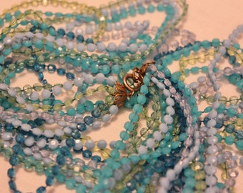 Multi Strand Long Mod Necklace Blue Teal Green  Costume Jewelry Womens Vintage 1960s 60s (J1)