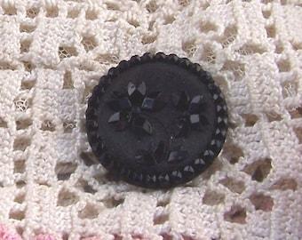 Antique Lacy Glass Flower Button  Black 27mm Button Collector's Button