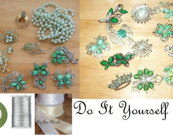 DIY BROOCH Bridal BOUQUET Kit, 40 Rhinestone Green and Clear Brooches, Ribbon, Floral Tape, Silver Jewelry Wire, Corsage Pins