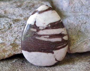 Focal Pendant Bead Zebra Jasper Brown Cream Teardrop 30MM x 40MM  A1