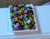 Dollshouse Miniature Tray with Liquorice Allsorts Sweets. Made by Snowflake Miniatures.