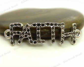 4 Faith Message DIY Rhinestone Setting Connectors 38x10mm Antique Silver Tone Metal - 2 Loop Links, Curved - BB34