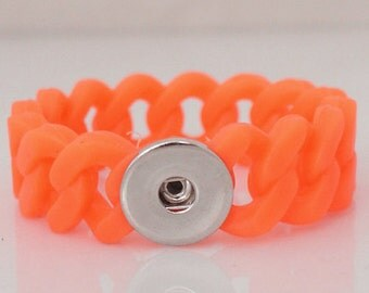 "1 Neon Orange Rubber Silicone Bracelet - 6"" FITS 18MM Candy Snap Charm Jewelry Silver KB9703 Cj0039"