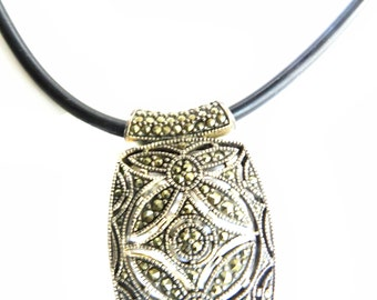 1920s Art Deco Sterling Silver Marcasite Pendant Necklace