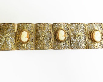 Extraordinary Carved Shell Cameo Victorian Bracelet
