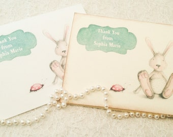 Thank You Note Cards-Personalized Baby Shower Cards-Bunny Lady Bug Stationery-Set of 10